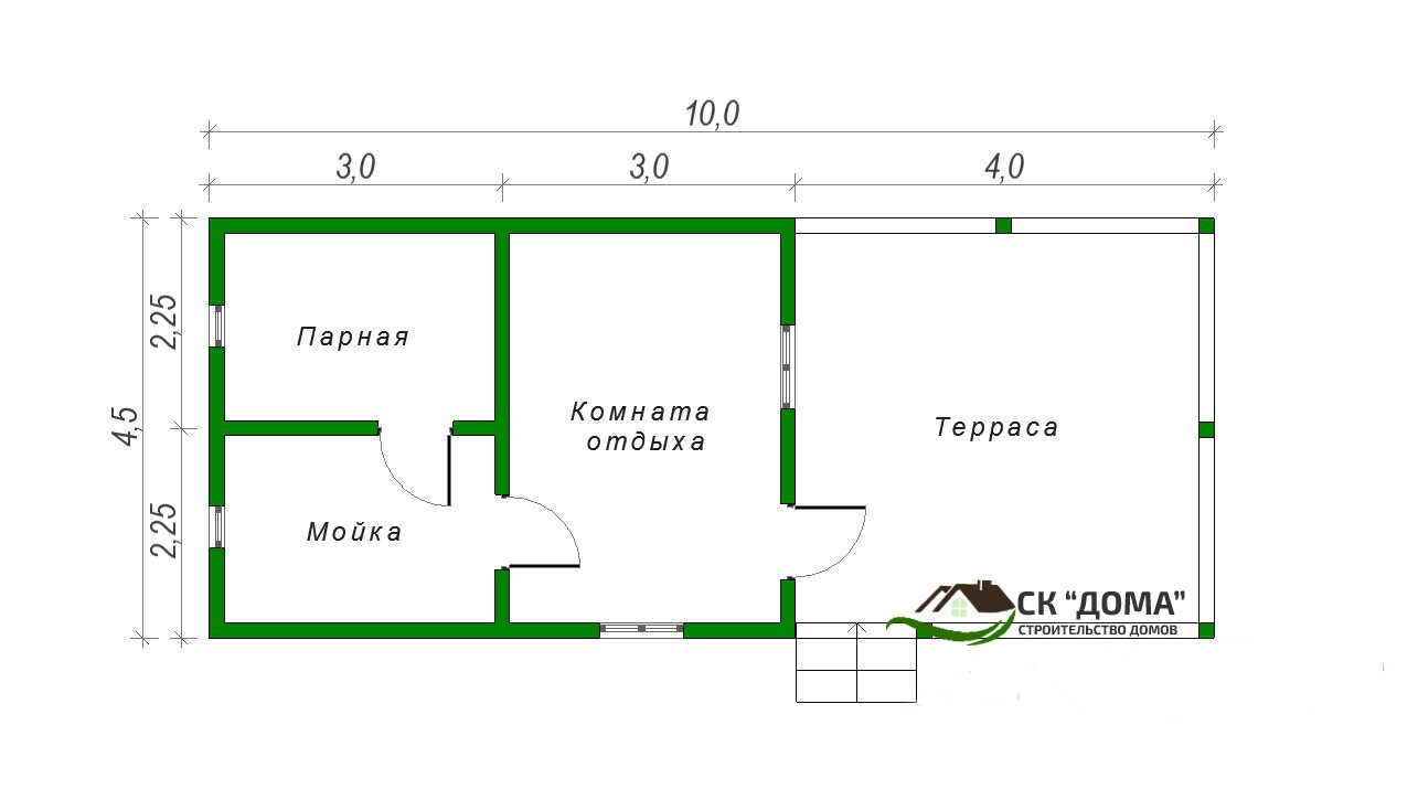 Проект Б-009. Баня из бруса 4.5X10м