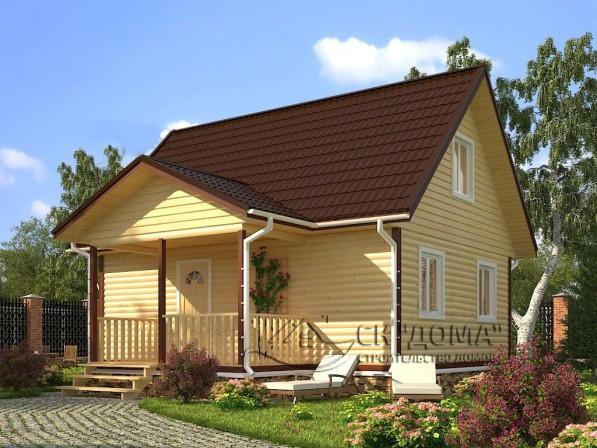 Проект ДБ-012. Дом из бруса с мансардой 8X8м