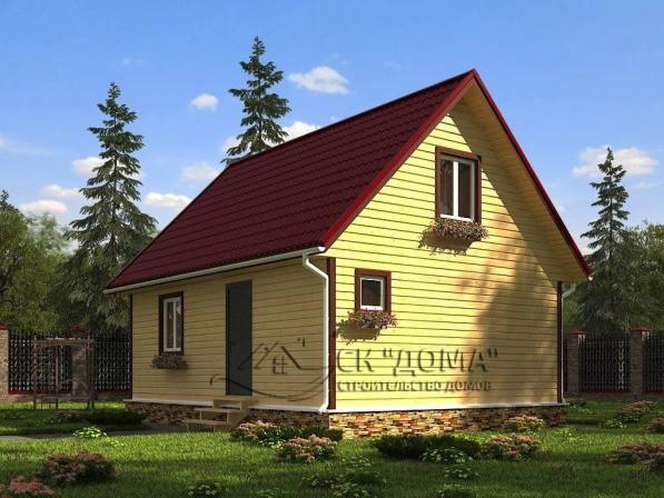 Проект ДБ-009. Дом из бруса с мансардой 6X8м