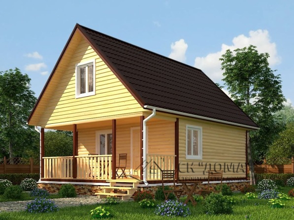 Проект ДБ-007. Дом из бруса с мансардой 6X8м