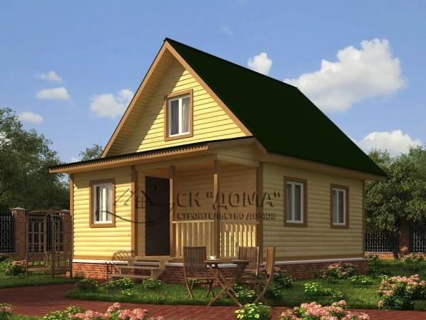 Проект ДБ-006. Дом из бруса с мансардой 6X8м