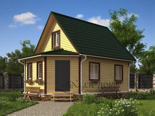 Проект ДБ-005. Дом из бруса с мансардой 6X8м