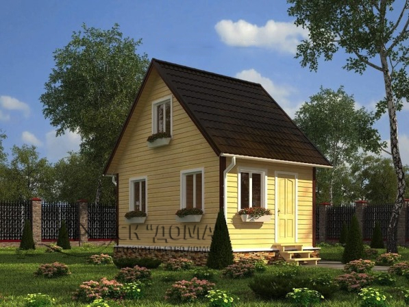Проект ДБ-001. Дом из бруса с мансардой 4X6м