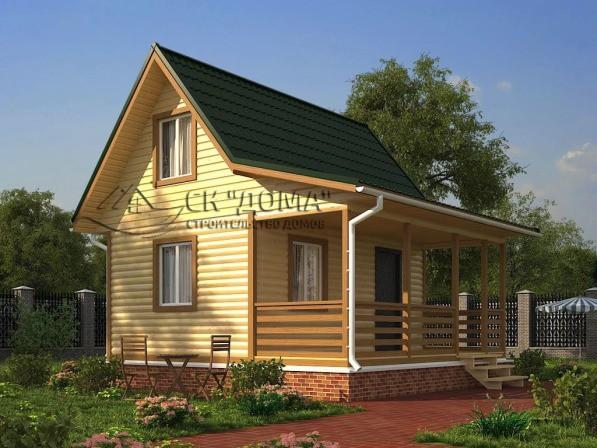 Проект ДБ-002. Дом из бруса с мансардой 6X6м