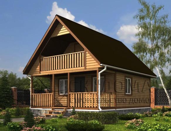 Проект ДБ-004. Дом из бруса с мансардой 6X7.5м