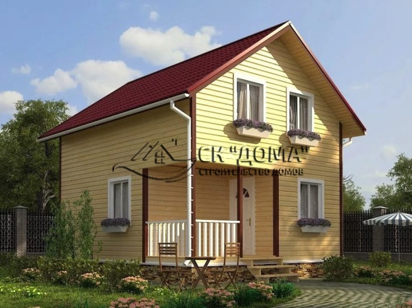 Проект ДБ-003. Дом из бруса с мансардой 6X7м