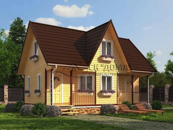 Проект ДБ-010. Дом из бруса с мансардой 6X9м
