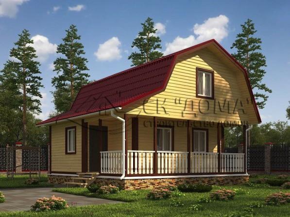 Проект ДБ-011. Дом из бруса с мансардой 7.5X7.5м