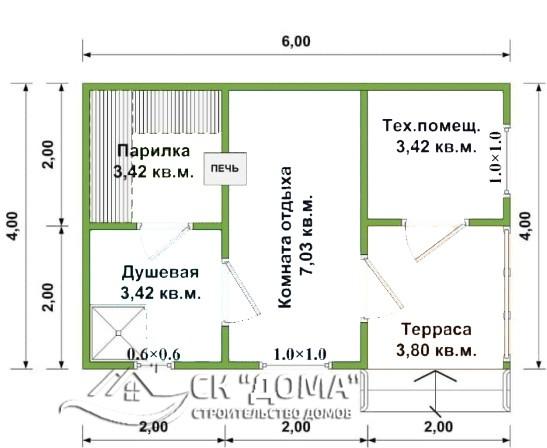 Проект Б-004. Баня из бруса 4X6м