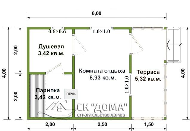 Проект Б-003. Баня из бруса 4X6м